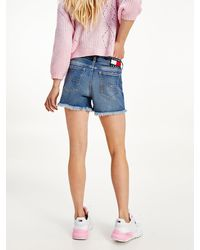 Tommy Hilfiger Relaxed Denim Short Met Tommy-badge - Blauw