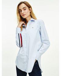 Tommy Hilfiger Organic Cotton Poplin Signature Tape Shirt - Blue