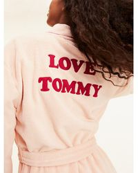Tommy Hilfiger Fluffy Logo Robe - Pink