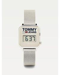 Tommy Hilfiger Digitaal Horloge Van Roestvrij Staal Met Mesh Band - Metallic