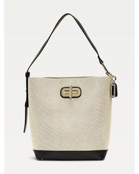 Tommy Hilfiger Canvas And Leather Mix Bucket Bag - Natural