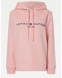 Tommy Hilfiger Essential Curve Logo-Hoodie - Pink