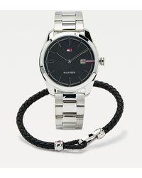 Tommy Hilfiger Cadeaubox Met Horloge En Leren Armband - Metallic
