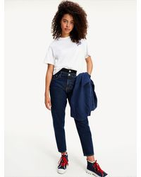 Tommy Hilfiger Mom High Rise Jeans Met Dubbele Tailleband - Blauw