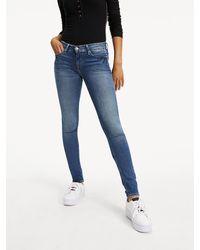 Tommy Hilfiger Nora Mid Waist Skinny Fit Jeans Met Medium Wassing - Blauw