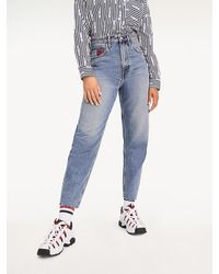 Tommy Hilfiger High Rise Tapered Mom Fit Jeans - Blauw