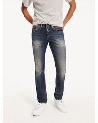 Tommy Hilfiger Slim Fit Jeans Met Faded Details - Blauw