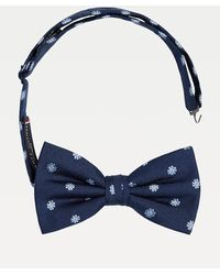 Tommy Hilfiger Pure Silk Floral Bow Tie - Blue