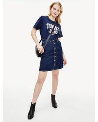Tommy Hilfiger Recycled Cotton Denim A-line Skirt - Blue