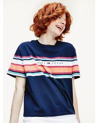 Tommy Hilfiger - Stripe Logo Cropped Fit T-shirt - Lyst