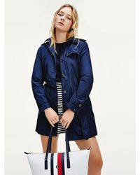 Tommy Hilfiger Compacte Trenchcoat - Blauw