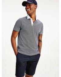 Tommy Hilfiger Slim Fit Poloshirt mit Mikro-Print - Blau