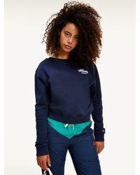 Tommy Hilfiger Cropped Sweatshirt Met Logo - Blauw