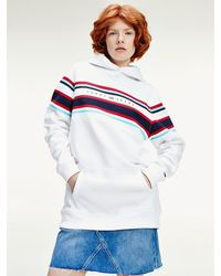 Tommy Hilfiger Relaxed Fit Hoodie mit Color Block-Logo - Weiß
