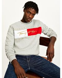 Tommy Hilfiger Sweatshirt Met Geborduurd Signature-logo - Grijs