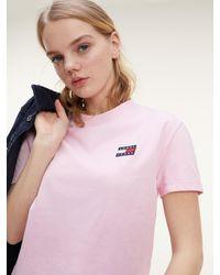 Tommy Hilfiger T-shirt Met Ronde Hals En Tommy-badge - Roze