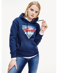 Tommy Hilfiger Relaxed Fit Hoodie Met Berglogo - Blauw