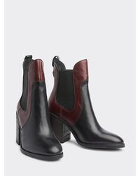 Tommy Hilfiger Colour-blocked Chelsea Boot Met Hoge Blokhak - Bruin