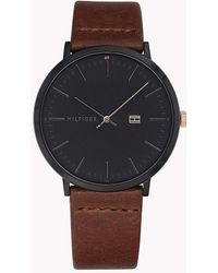 Tommy Hilfiger - James Brown Leather Strap Watch 40mm - Lyst
