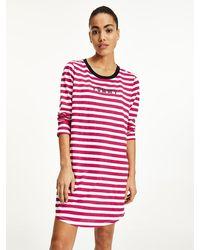 Tommy Hilfiger Nachthemd Met Lange Mouwen En Contrasterende Halslijn - Roze