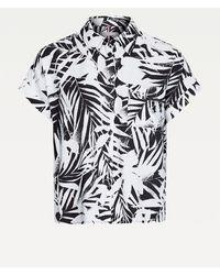 Tommy Hilfiger Relaxed Fit Blouse Met Palmenprint - Zwart