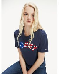 Tommy Hilfiger - Cropped Fit Flag T-shirt - Lyst