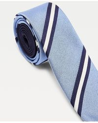 Tommy Hilfiger Contrast Stripe Silk Tie - Blue