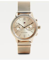 Tommy Hilfiger Rosé-verguld Horloge Met Gegraveerd Monogram - Roze