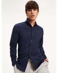 Tommy Hilfiger Slim Fit Stretch Overhemd - Blauw