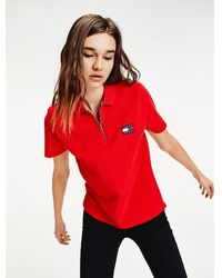 Tommy Hilfiger Katoenen Polo Met Tommy-badge - Rood