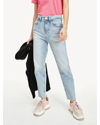 Tommy Hilfiger Mom High Rise Tapered Fit Faded Jeans - Blauw