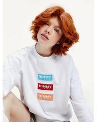 Tommy Hilfiger Sweatshirt Met Ronde Hals En Herhalend Logo - Wit