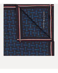 Tommy Hilfiger Signature Detail Geometric Print Pocket Square - Blue