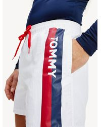 Tommy Hilfiger Slim Fit Zwemshort Met Logo Op De Pijp - Wit