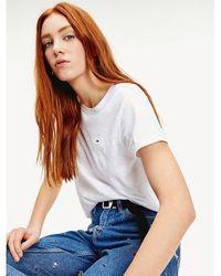 Tommy Hilfiger Gemêleerd T-shirt Van Biologische Katoenmix - Wit