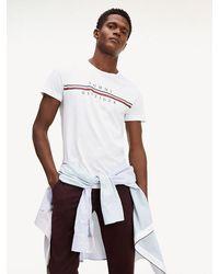 Tommy Hilfiger - Stripe Logo Organic Cotton T-shirt - Lyst