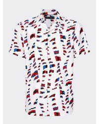 Tommy Hilfiger Flag Print Short Sleeve Shirt - White