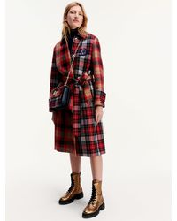Tommy Hilfiger Tommy Icons Checked Oversized Wool Cashmere Mac - Red