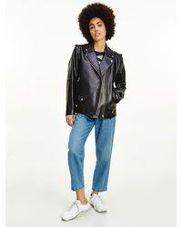 Tommy Hilfiger Tommy Icons Oversized Leather Biker Jacket - Black