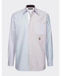 Tommy Hilfiger Relaxed Fit Overhemd Met Gemengde Streep - Blauw