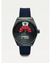 Tommy Hilfiger Blauw Split Face-horloge Met Siliconen Band