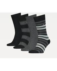 Tommy Hilfiger Set Van 4 Paar Gestreepte Sokken In Cadeaubox - Zwart