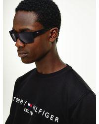 Tommy Hilfiger Rechthoekige Zonnebril Met Piqué-detail - Zwart