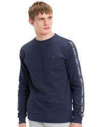 Tommy Hilfiger Sweatshirt Met Logotape - Blauw