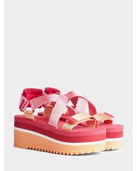 Tommy Hilfiger Colour-blocked Flatform Sandals - Red