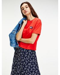 Tommy Hilfiger - Tommy Badge Recycled Cropped T-shirt - Lyst