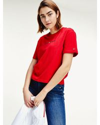 Tommy Hilfiger Cropped T-shirt Met Logo - Rood