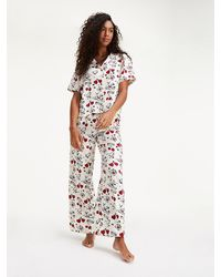 Tommy Hilfiger Satijnen Pyjamaset Met Print - Wit