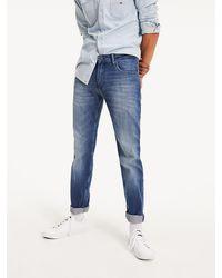 Tommy Hilfiger Straight Fit Jeans Met Lichte Wassing - Blauw
