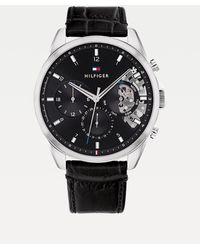 Tommy Hilfiger Horloge Met Zwarte Leren Band Met Krokoprint